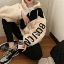 Sweater / sweater Winter 2020 White, black One size fits all, XXS pre-sale Long sleeves Medium length Socket singleton  thickening stand collar easy commute routine letter 51% (inclusive) - 70% (inclusive) Korean version Splicing zipper