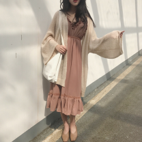 Dress Summer 2016 Apricot, red bean paste One size fits all, XXS pre-sale Mid length dress singleton  Sleeveless commute V-neck High waist Solid color other Ruffle Skirt other camisole 18-24 years old Other / other Korean version 51% (inclusive) - 70% (inclusive) other other