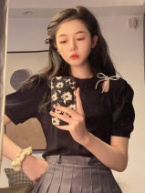 T-shirt White, black One size fits all, XXS pre-sale Summer 2021 Short sleeve Crew neck easy Regular puff sleeve commute other 51% (inclusive) - 70% (inclusive) Korean version youth Solid color bow