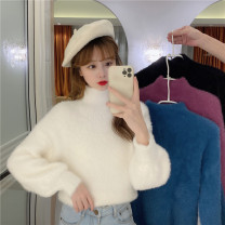 Wool knitwear Winter 2020 One size fits all, XXS pre-sale Peacock blue, white, black, taro purple Long sleeves singleton  Socket other 51% (inclusive) - 70% (inclusive) have cash less than that is registered in the accounts thickening commute easy Half height crew neck puff sleeve Solid color Socket