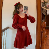 Dress Winter 2020 White, red, black One size fits all, XXS pre-sale Short skirt singleton  Long sleeves commute Crew neck High waist Solid color Socket A-line skirt routine Type A Korean version