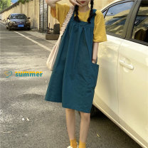 Dress Summer 2021 Yellow T-shirt D, green strap G Average size Short skirt Sleeveless commute Crew neck Loose waist Solid color Socket other other straps Type A Korean version pocket 31% (inclusive) - 50% (inclusive) other