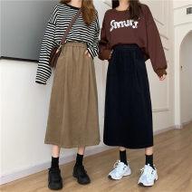 skirt Autumn 2020 One size fits all, XXS pre-sale Black, Khaki Mid length dress Versatile High waist other Solid color Type A 51% (inclusive) - 70% (inclusive)