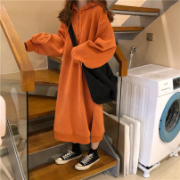 Sweater / sweater Winter of 2018 Orange, black One size fits all, XXS pre-sale Long sleeves Medium length Socket singleton  Plush Hood easy commute Bat sleeve Solid color 30% and below Other / other Korean version Pocket, drawstring Three buttons