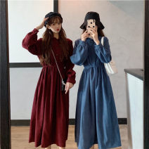 Dress Winter 2020 Khaki, red, blue, black One size fits all, XXS pre-sale Mid length dress singleton  Long sleeves commute Elastic waist Solid color Single breasted A-line skirt puff sleeve Type A Korean version Button 51% (inclusive) - 70% (inclusive) other