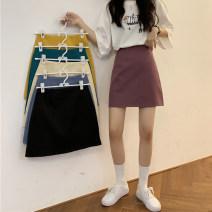 skirt Summer 2020 S. M, l, XXS pre sale Apricot, purple, green, blue, yellow, black Short skirt commute High waist A-line skirt Solid color Type A 18-24 years old Korean version