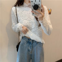 T-shirt White, black One size fits all, XXS pre-sale Winter 2020 Long sleeves Half high collar Straight cylinder Regular routine commute other 51% (inclusive) - 70% (inclusive) Korean version youth Solid color Lace