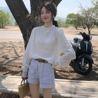 shirt white One size fits all, XXS pre-sale Summer of 2019 other 96% and above Long sleeves commute Regular Crew neck Socket other Solid color Straight cylinder Other / other Korean version Lace