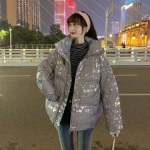 Cotton padded clothes Gold, silver One size fits all, XXS pre-sale Winter 2020 1-10 routine Long sleeves thickening zipper commute stand collar routine Straight cylinder letter Korean version Pocket, panel, zipper 96% and above other