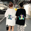 T-shirt White, black One size fits all, XXS pre-sale Summer 2020 Short sleeve Crew neck easy Medium length routine commute other 96% and above 18-24 years old Korean version originality Letters, cartoons printing
