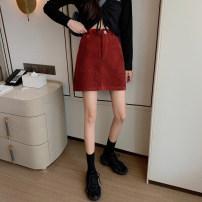 skirt Winter of 2019 50. M, s, XXS pre sale Black, Retro Red Short skirt Versatile High waist A-line skirt Solid color Type A 18-24 years old corduroy Zipper, button