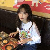 T-shirt White, dark blue One size fits all, XXS pre-sale Summer 2020 Short sleeve Crew neck easy Medium length routine commute other 86% (inclusive) -95% (inclusive) 18-24 years old Korean version youth Letters, cartoons printing