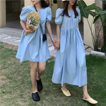 Dress Summer 2020 Average size longuette singleton  Short sleeve commute Crew neck High waist Solid color Socket A-line skirt puff sleeve Others 18-24 years old Type A Korean version fold 91% (inclusive) - 95% (inclusive) other