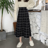skirt Autumn 2020 One size fits all, XXS pre-sale Picture color Mid length dress commute High waist A-line skirt lattice Type A 51% (inclusive) - 70% (inclusive) other Other / other other tassels Korean version