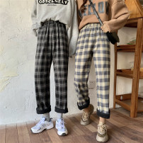 Casual pants Beihong grid, black and white grid, blue brown grid S. M, l, XXS pre sale Winter 2020 trousers Wide leg pants High waist commute thickening 51% (inclusive) - 70% (inclusive) other Korean version pocket