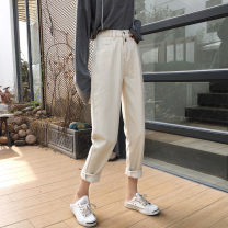 Jeans Spring 2020 Apricot S,M,L,XL trousers High waist Wide legged trousers routine 18-24 years old Cotton denim light colour 96% and above