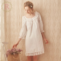 Nightdress ROSE TREE XS S M L XL Sweet Long sleeves pajamas Short skirt summer Solid color youth square neck cotton bow More than 95% 200g and below Summer of 2019 Cotton 100% Pure e-commerce (online only)