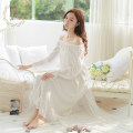 Nightdress ROSE TREE Off white 155(S) 160(M) 165(L) XS XL Sweet Long sleeves Leisure home longuette spring Solid color youth Crew neck cotton lace More than 95% s16014 Spring 2016 Other 100% Pure e-commerce (online only)