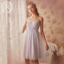 Nightdress ROSE TREE Soft pink (with breast pad) light purple (with breast pad) XS S M L XL XXL Sweet camisole pajamas Short skirt summer Solid color youth square neck nylon lace 81% (inclusive) - 95% (inclusive) Mesh fabric tag053 Spring of 2018 Pure e-commerce (online only)
