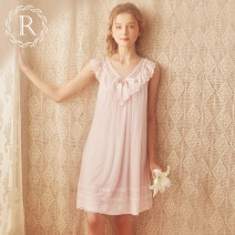 Nightdress ROSE TREE Soft pink light purple XS S M L XL Sweet camisole pajamas Short skirt summer Solid color youth V-neck nylon bow 81% (inclusive) - 95% (inclusive) Soft mesh + skin friendly modal tai028 Spring of 2019 Polyamide fiber (nylon) 90% polyurethane elastic fiber (spandex) 10%