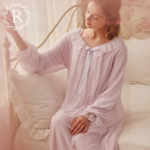 Nightdress ROSE TREE Soft pink light purple XS S M L XL Sweet Long sleeves pajamas longuette winter Solid color youth Crew neck bow More than 95% Silver Fox tah328hc Autumn of 2018 Polyester 100% Pure e-commerce (online only) Polyurethane elastic fiber (spandex) 90% polyamide fiber (nylon) 10%