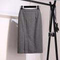 skirt Winter 2020 S,M,L,XL black longuette commute High waist skirt Solid color Type H 25-29 years old Wool polyester fiber zipper Ol style