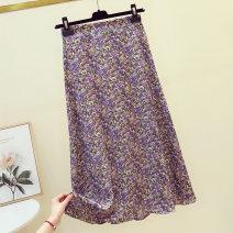 skirt Summer 2021 S,M,L Purple, yellow, pink Mid length dress Retro High waist A-line skirt Broken flowers Type A 18-24 years old Chiffon