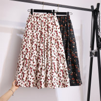 skirt Winter 2020 Average size Black, white longuette commute High waist Pleated skirt Broken flowers Type A 18-24 years old corduroy polyester fiber printing Korean version