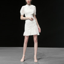 Dress Summer 2020 White (5-7 days delivery), white (in stock) S,M,L,XL Short skirt singleton  Short sleeve street stand collar High waist Solid color zipper Ruffle Skirt bishop sleeve Others 25-29 years old Type X Duffy fashion Fold, asymmetry, button, zipper Y15270 More than 95% polyester fiber