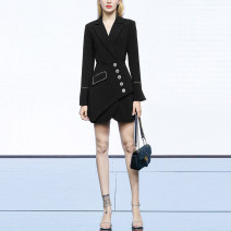 Dress Spring 2021 Black (5-7 days delivery), black (stock) S,M,L,XL Middle-skirt singleton  Long sleeves street tailored collar High waist Solid color double-breasted A-line skirt routine Others 25-29 years old Type A Duffy fashion Asymmetry, button D-SSM1130 More than 95% other polyester fiber