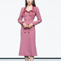 Dress Spring 2021 S,M,L,XL longuette singleton  Long sleeves street tailored collar High waist Solid color double-breasted One pace skirt routine Others 25-29 years old Type X Duffy fashion More than 95% other polyester fiber Europe and America