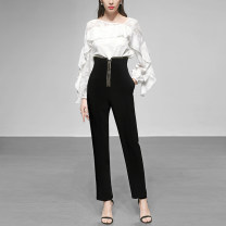 Casual pants Black (5-7 days delivery), black stock S,M,L,XL,2XL,3XL Spring 2020 trousers Pencil pants High waist street routine 25-29 years old H14420B Duffy fashion polyester fiber polyester fiber Europe and America