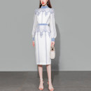 Dress Spring 2021 White (5-7 days delivery), white (spot) S,M,L,XL Mid length dress singleton  Long sleeves street stand collar middle-waisted Decor zipper other bishop sleeve Others 25-29 years old Type X Duffy fashion Pleats, zippers, prints More than 95% other polyester fiber Europe and America