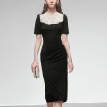 Dress Summer 2020 Classic black (5-7 days delivery), classic black (in stock) XS,S,M,L,XL Mid length dress singleton  Short sleeve street Crew neck middle-waisted Solid color Socket One pace skirt puff sleeve Others 25-29 years old Type X Duffy fashion Stitching, lace Q17837 knitting polyester fiber