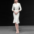 Dress Spring 2020 White (5-7 days delivery), white (in stock) S,M,L,XL Mid length dress singleton  three quarter sleeve street other middle-waisted Solid color zipper Irregular skirt routine Others 25-29 years old Type X Duffy fashion Lace up, asymmetric, zipper Y15806 More than 95% polyester fiber