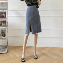 skirt Summer 2021 S,M,L,XL Blue, black, white Short skirt commute High waist skirt lattice Type A 18-24 years old More than 95% Denim cotton Splicing Korean version