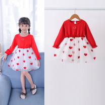 Dress Red, red 1 female Babycun / Beibei Village 80cm,90cm,100cm,110cm,120cm,130cm,140cm Cotton 95% other 5% spring and autumn princess Long sleeves Solid color cotton Pleats Class A 12 months, 6 months, 9 months, 18 months, 2 years old, 3 years old, 4 years old, 5 years old, 6 years old, 7 years old