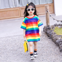 T-shirt Pink, red, color Babycun / Beibei Village 80cm,90cm,100cm,110cm,120cm,130cm,140cm female summer Short sleeve Crew neck Korean version There are models in the real shooting cotton Cotton 95% other 5% Class A Chinese Mainland Guangdong Province Foshan City
