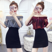 Dress Summer of 2019 White, red, gold, silver, yellow, black, plum S,M,L,XL Short skirt Fake two pieces commute One word collar High waist Socket Pencil skirt Others Other / other Korean version