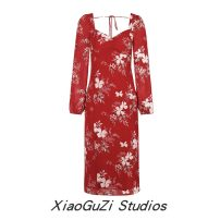 Dress Autumn 2020 gules S,M,L Mid length dress singleton  Long sleeves commute square neck middle-waisted Decor Socket One pace skirt routine Breast wrapping Type H Retro Backless, printed 81% (inclusive) - 90% (inclusive) Chiffon cotton