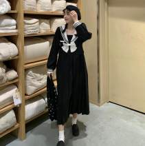 Women's large Spring 2021, autumn 2021 black M, l, XL, 2XL, 3XL, 4XL Dress singleton  Sweet Socket Long sleeves Solid color Admiral Three dimensional cutting routine Other / other longuette Pleated skirt