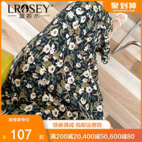 Women's large Summer 2021 Decor decor (pre sale) Large L Large XL Large XXL large XXL large XXL large XXXL skirt singleton  commute easy moderate Flowers and plants Korean version polyester Three dimensional cutting S1323 Lrosey / blue water 25-29 years old zipper 96% and above Middle-skirt