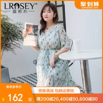 Women's large Summer 2021 Decor Large L Large XL Large XXL large XXL large XXL large XXXL Dress singleton  commute easy thin Conjoined Short sleeve shape Korean version V-neck polyester Three dimensional cutting Lotus leaf sleeve S5199 Lrosey / blue water 25-29 years old Bandage 96% and above bow
