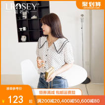 Women's large Summer 2021 White (pre sale) Large L - pre sale May 3 large XL Large XXL - pre sale May 3 large XXXXL large XXXXL shirt singleton  commute easy thin Cardigan Short sleeve Dot Korean version V-neck routine polyester Three dimensional cutting routine Lrosey / blue water 25-29 years old