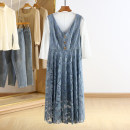 Dress Spring 2021 blue S,M,L,XL Mid length dress Two piece set three quarter sleeve other Socket Type A Other / other RKR15L012 51% (inclusive) - 70% (inclusive) cotton