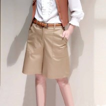 Casual pants Khaki, black, Navy, blue, white 1 = 26, 2 = 27, 3 = 28, 4 = 29, 5 = 30, 6 = 31 Spring 2021 Pant Wide leg pants High waist Versatile Thin money 96% and above O'amash banner cotton cotton