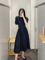 Dress Spring 2021 black XS,S,M,L Short skirt singleton  Short sleeve commute Crew neck Loose waist Solid color Socket A-line skirt puff sleeve Others 25-29 years old Type A Ol style 71% (inclusive) - 80% (inclusive) Silk and satin modal