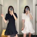 Dress Summer 2020 Black, white S,L Short skirt singleton  Short sleeve commute V-neck Loose waist Solid color other A-line skirt puff sleeve Others 25-29 years old Type A Ol style other hemp