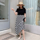 skirt Summer 2020 S,M,L,XL Black and white stripes Mid length dress grace High waist Irregular stripe Type A 25-29 years old Chiffon