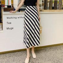 skirt Summer 2021 S,M,L,XL Mid length dress Retro High waist skirt stripe Type A 25-29 years old Chiffon